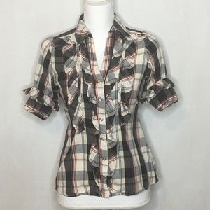 Angie Plaid Ruffled Button Up Tie Top - Size Small